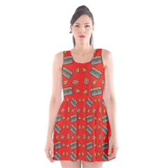 Fast Food Red Scoop Neck Skater Dress