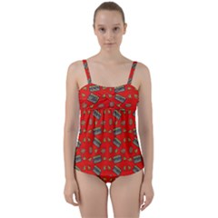 Fast Food Red Twist Front Tankini Set