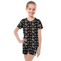 Fast Food Black Kids  Mesh Tee And Shorts Set