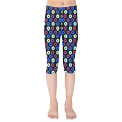 Eye Dots Blue Magenta Kids  Capri Leggings  by snowwhitegirl