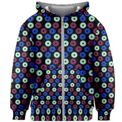 Eye Dots Blue Magenta Kids Zipper Hoodie Without Drawstring