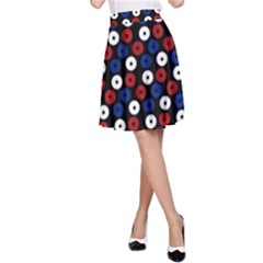 Eye Dots Red Blue A Line Skirt by snowwhitegirl