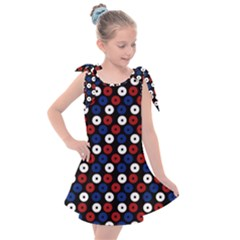 Eye Dots Red Blue Kids  Tie Up Tunic Dress