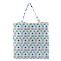 Eye Dots Green Violet Grocery Tote Bag