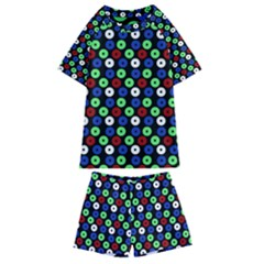 Eye Dots Green Blue Red Kids  Swim Tee And Shorts Set
