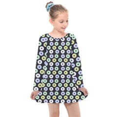 Eye Dots Grey Pastel Kids  Long Sleeve Dress by snowwhitegirl