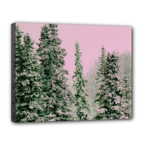 Winter Trees Pink Canvas 14  X 11  by snowwhitegirl