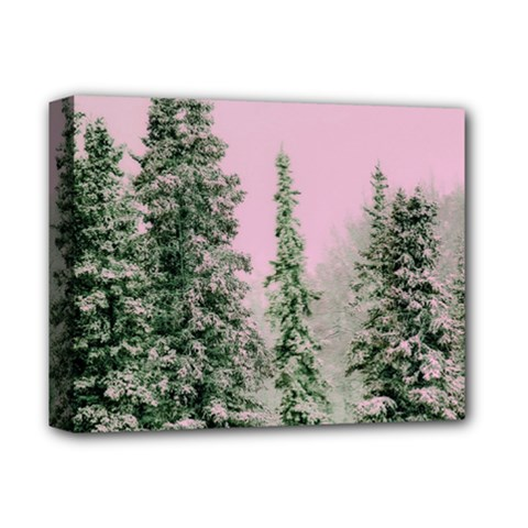 Winter Trees Pink Deluxe Canvas 14  X 11  by snowwhitegirl