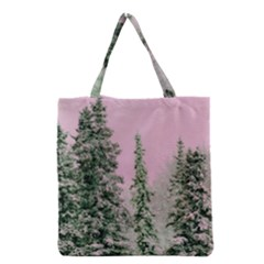 Winter Trees Pink Grocery Tote Bag