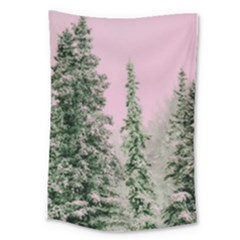 Winter Trees Pink Large Tapestry