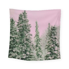 Winter Trees Pink Square Tapestry (small) by snowwhitegirl