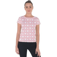 Hearts Dots Pink Short Sleeve Sports Top
