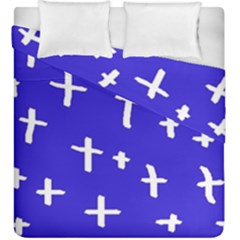 Blue White Cross Duvet Cover Double Side (king Size) by snowwhitegirl