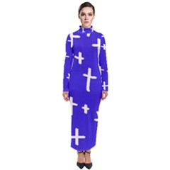 Blue White Cross Turtleneck Maxi Dress by snowwhitegirl