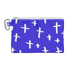 Blue White Cross Canvas Cosmetic Bag (large) by snowwhitegirl