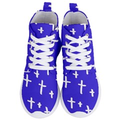 Blue White Cross Women s Lightweight High Top Sneakers