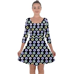 Eye Dots Black Pastel Quarter Sleeve Skater Dress by snowwhitegirl