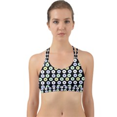 Eye Dots Black Pastel Back Web Sports Bra