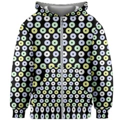 Eye Dots Black Pastel Kids Zipper Hoodie Without Drawstring