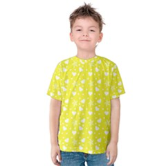 Hearts And Star Dot Yellow Kids  Cotton Tee