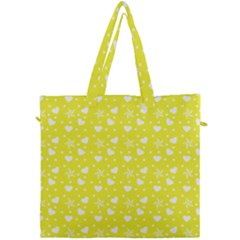 Hearts And Star Dot Yellow Canvas Travel Bag