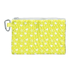Hearts And Star Dot Yellow Canvas Cosmetic Bag (large) by snowwhitegirl