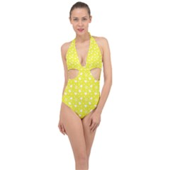 Hearts And Star Dot Yellow Halter Front Plunge Swimsuit