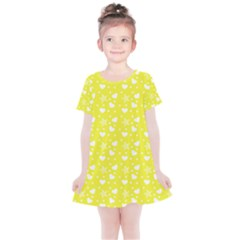 Hearts And Star Dot Yellow Kids  Simple Cotton Dress