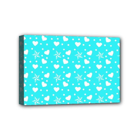 Hearts And Star Dot Blue Mini Canvas 6  X 4  by snowwhitegirl