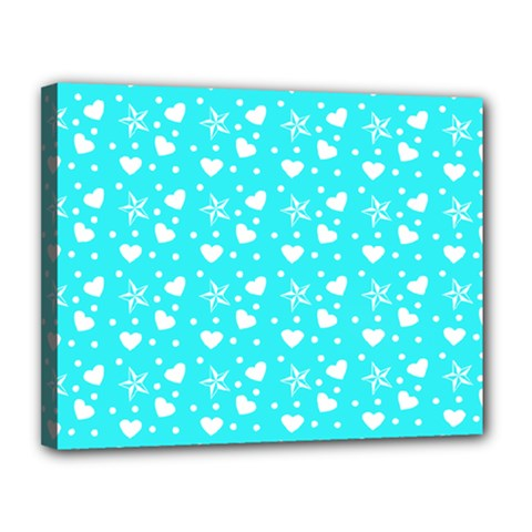 Hearts And Star Dot Blue Canvas 14  X 11