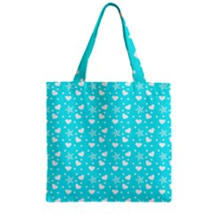 Hearts And Star Dot Blue Zipper Grocery Tote Bag by snowwhitegirl