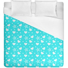 Hearts And Star Dot Blue Duvet Cover (king Size) by snowwhitegirl
