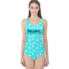 Hearts And Star Dot Blue One Piece Swimsuit