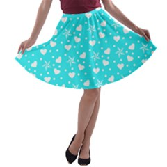 Hearts And Star Dot Blue A Line Skater Skirt by snowwhitegirl