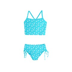 Hearts And Star Dot Blue Girls  Tankini Swimsuit by snowwhitegirl