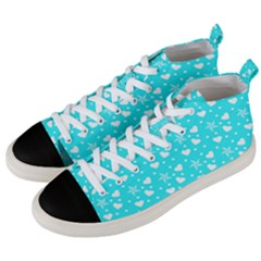 Hearts And Star Dot Blue Men s Mid Top Canvas Sneakers by snowwhitegirl
