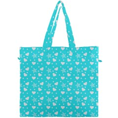 Hearts And Star Dot Blue Canvas Travel Bag by snowwhitegirl