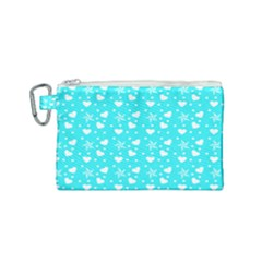 Hearts And Star Dot Blue Canvas Cosmetic Bag (small) by snowwhitegirl