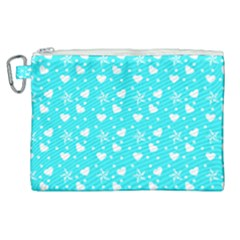 Hearts And Star Dot Blue Canvas Cosmetic Bag (xl) by snowwhitegirl