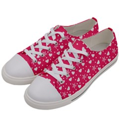 Hearts And Star Dot Pink Women s Low Top Canvas Sneakers by snowwhitegirl