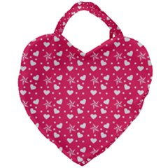 Hearts And Star Dot Pink Giant Heart Shaped Tote by snowwhitegirl