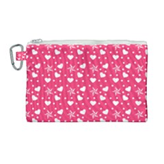 Hearts And Star Dot Pink Canvas Cosmetic Bag (large) by snowwhitegirl