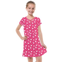 Hearts And Star Dot Pink Kids  Cross Web Dress