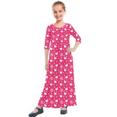 Hearts And Star Dot Pink Kids  Quarter Sleeve Maxi Dress