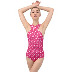 Hearts And Star Dot Pink Cross Front Low Back Swimsuit