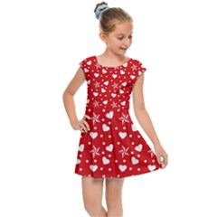 Hearts And Star Dot Red Kids Cap Sleeve Dress