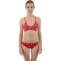 Hearts And Star Dot Red Wrap Around Bikini Set by snowwhitegirl