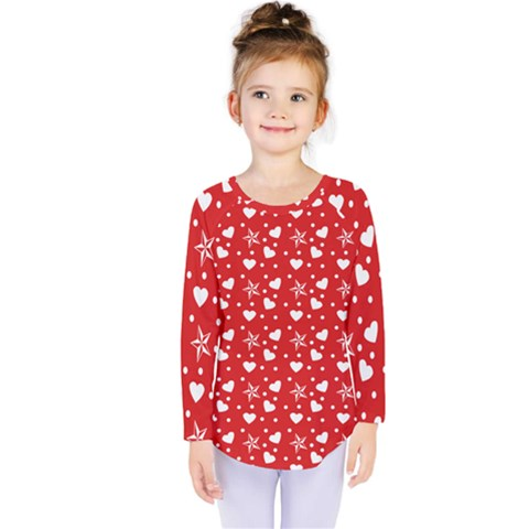 Hearts And Star Dot Red Kids  Long Sleeve Tee by snowwhitegirl
