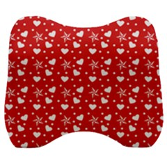 Hearts And Star Dot Red Velour Head Support Cushion