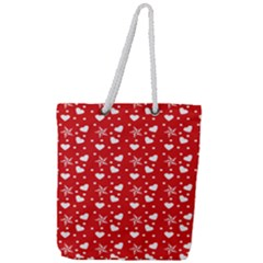 Hearts And Star Dot Red Full Print Rope Handle Tote (large) by snowwhitegirl
